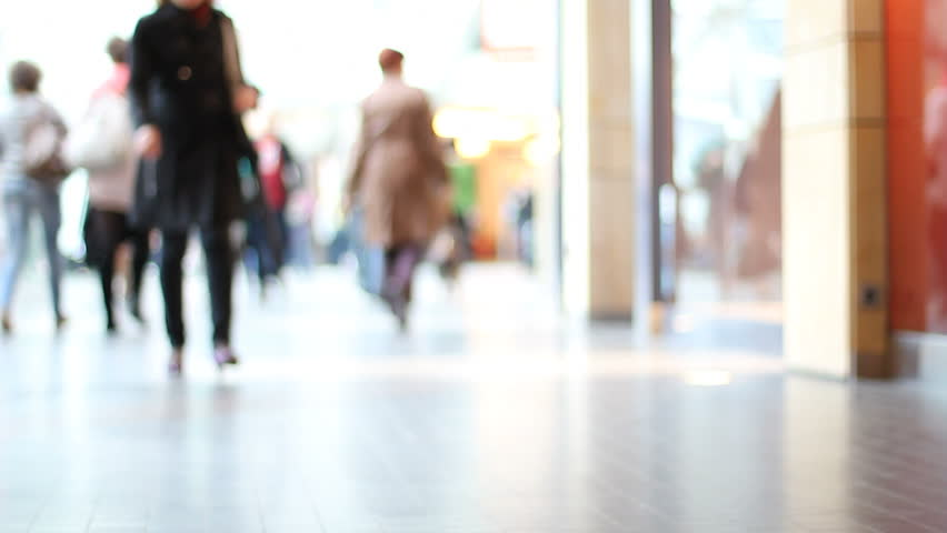 Shopping mall crowds defocused