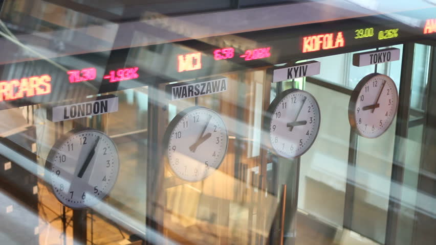 Warsaw stock exchange indices and clocks