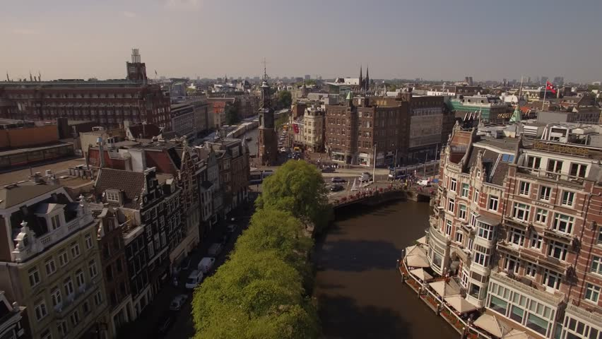 Amsterdam aerial sightseeing. Flying above old centre district. Netherlands in 4K.   Shutterstock HD Video #19810264