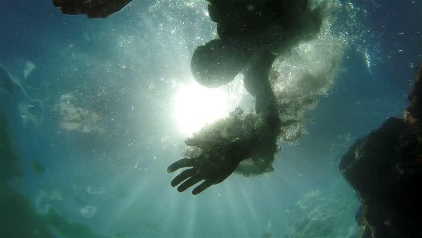 Stock Video Of Bright Sun Throught Water Underwater Camera