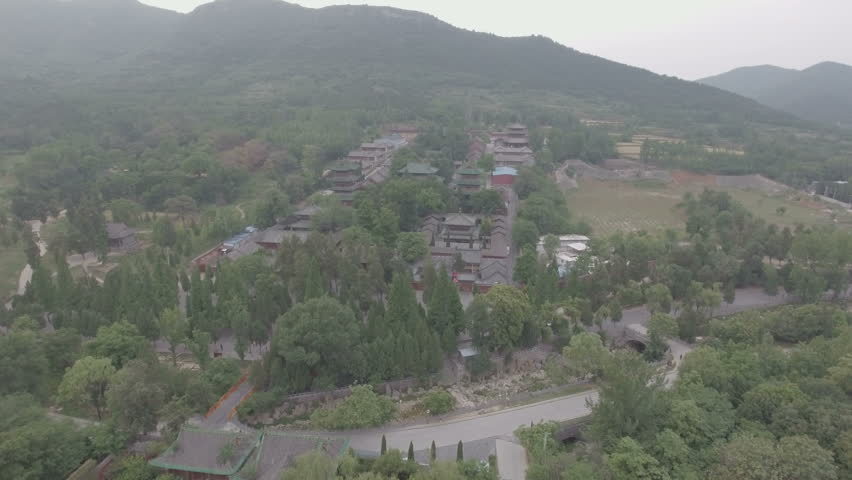 Aerial view of the famous Shaolin temple complex, an important Buddhist center and home to Shaolin kung fu in Henan province, China.