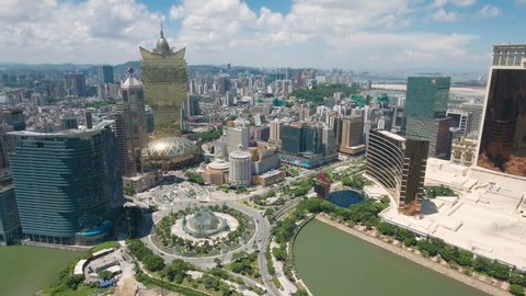 MACAU - JULY 2016: Aerial shot of the classic casino strip and skyline of Macau.