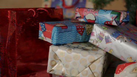Beautiful gift boxes christmas and new year's toys on the christmas tree