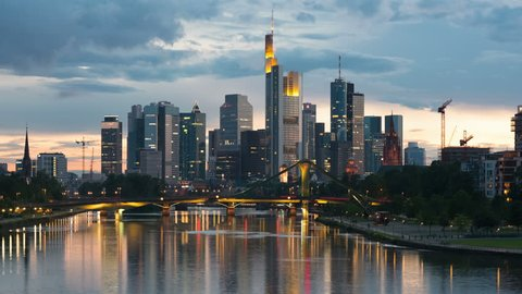 Skyscrapers in the business district of Frankfurt in a summer sunset
