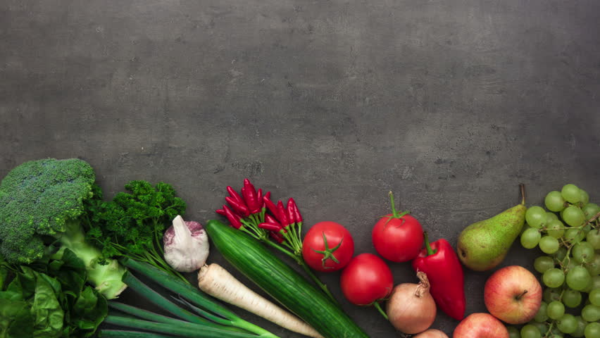 kitchen table with food. Fresh Vegetables Moving On Grey Kitchen Table. Flat Lay Food Preparation Concept. 4K, Stopmotion Animation. Stock Footage Video 19860310 | Shutterstock Table With