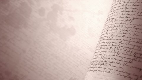 Close up of handwritten notes in sepia. Seamless background loop with Copy Space and Depth of Field. Undefined text with english words.