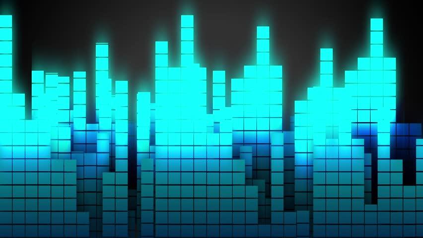 Jumping Music Bars dancing through a dark screen