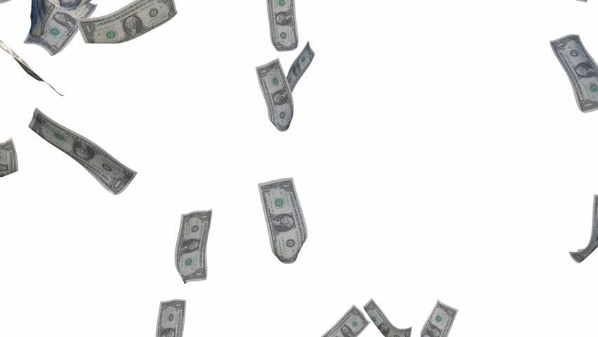3D Animation - Rain dollar bills on white background