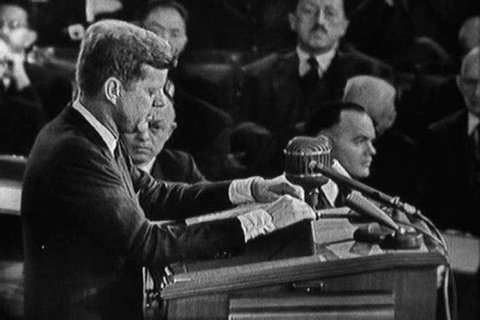 In his 1963 State of the Union address, President Kennedy names some of the American men who gave their lives for freedom in recent years (1960s)