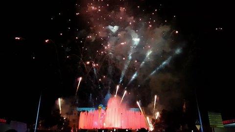Barcelona, Spain - 25 September 2016: La Merce 2016 fireworks at Magic Fountain.  The pyrotechnics finale of La Merce 2016 celebrations at Plaza de Espana.