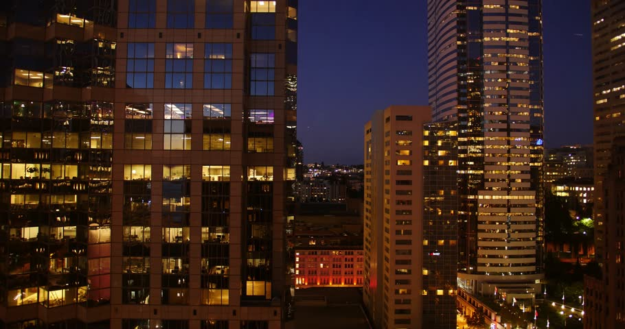 City Night Time Lapse, Landscape of Downtown Seattle, Washington 2