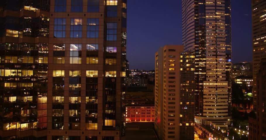 City Night Time Lapse, Landscape of Downtown Seattle, Washington 2