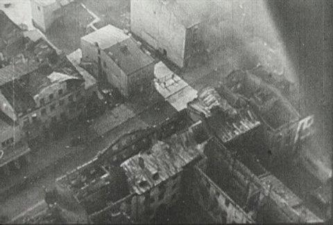EUROPE - CIRCA 1942-1944: World War II, Aerial View of War Ravaged Warsaw