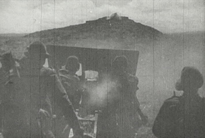 EUROPE - CIRCA 1942-1944: World War II, Italian Soldiers Firing Artillery
