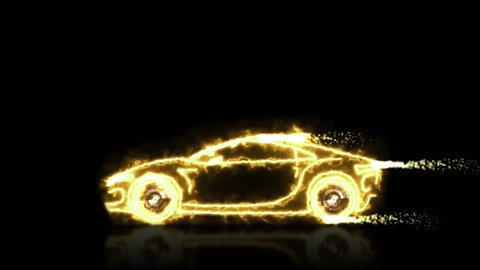 Abstract animation of golden futuristic super car made with light beam wireframes on black isolated futuristic background. Automobile car and aerodynamic car motion design engineering technology 4k.