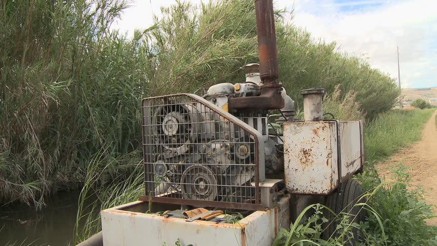 Irrigation pump engine in farm