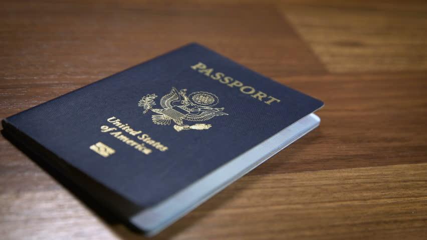 Dolly Shot of United States Passport, Shallow DOF