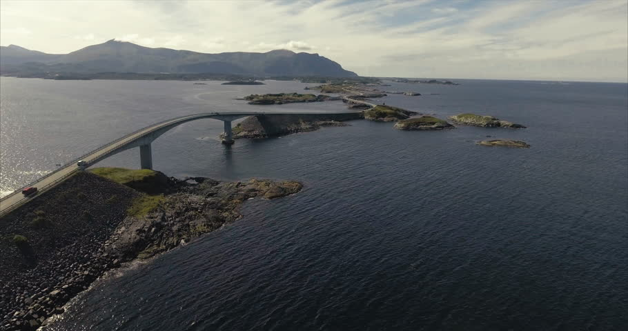 Aerial shot over Atlantic Road - famous driving route in Norway