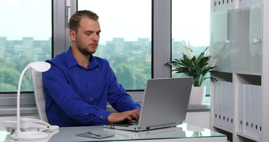 Handsome Business Man Talking Mobile Phone And Telephone Activity In ...
