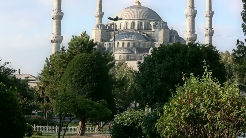 Blue mosque with minarets, Istanbul, Sultanahmet park. The biggest mosque in Istanbul of Sultan Ahmed (Ottoman Empire).