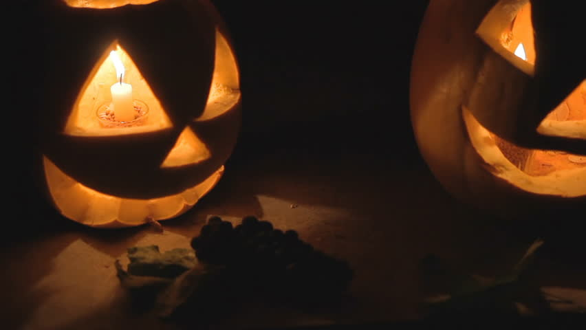 Glowing scary pumpkin at night on the steps | Shutterstock HD Video #20165872