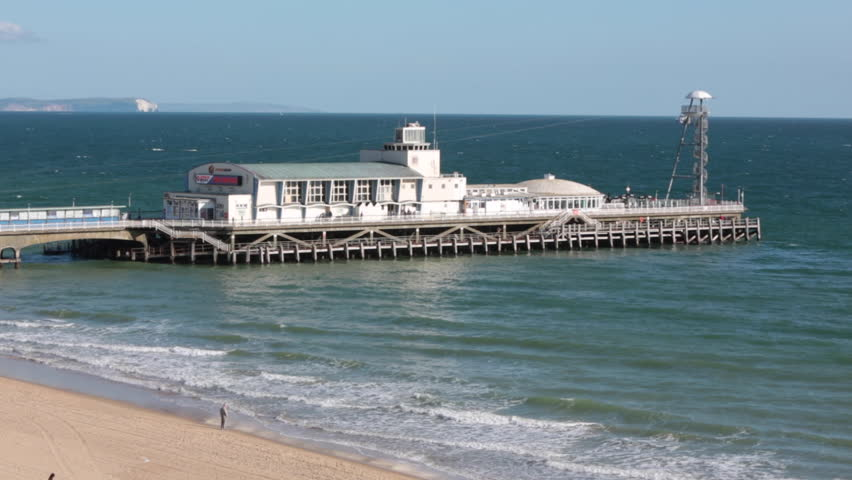 Elevated view of Bournemouth Pier in the English seaside resort town of Bournemouth in Dorset