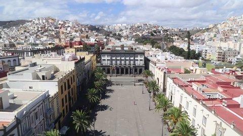 Las Palmas de Gran Canaria. View from Santa Ana Cathedral. Tilt shot.