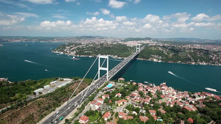 Aerial view of the Istanbul bosphorus bridge 2 october 28, 2011 ower istanbul