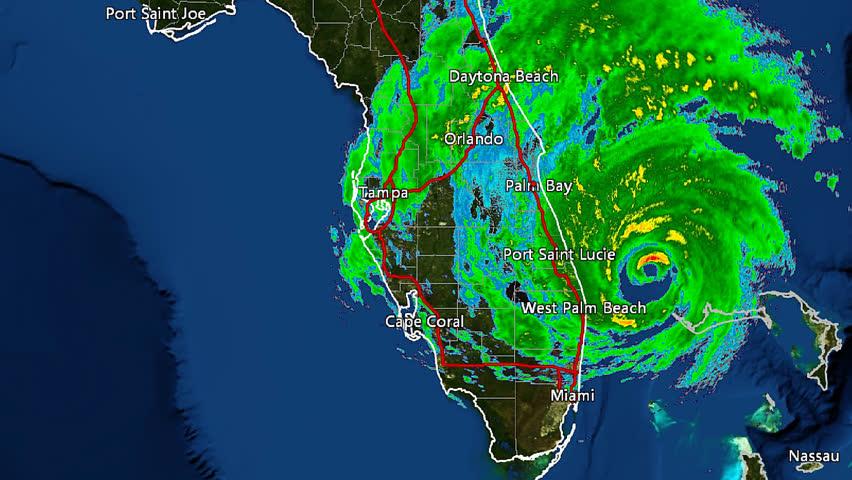Orlando Doppler Weather Map.Hurricane Matthew 2016 Landfall Doppler Stock Footage Video 100