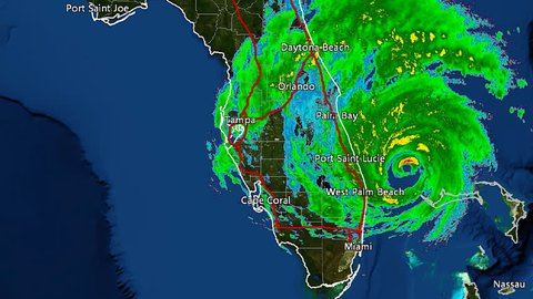 Hurricane Matthew (2016) Landfall Doppler Radar Time Lapse. (Wide Shot w. City Labels) This work was created using archived NEXRAD Data from the NWS that is not subject to copyright protection.