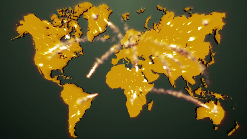 Loop animation of an illuminated world map a network of lines seamless animation of nuclear missile shooting across continents and countries exploding and destroying everything in world gumiabroncs Images