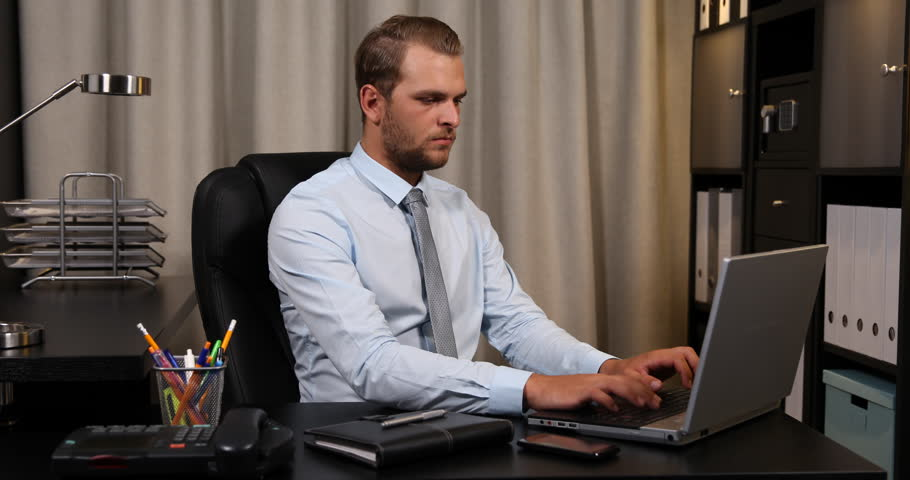 Successful Business Man Showing Thumb Up Sign Looking Camera Office ...
