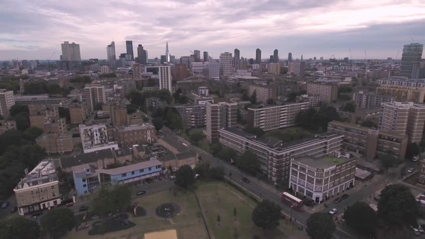 Aerial push in view of the skyline of the city of London | Shutterstock HD Video #20435350