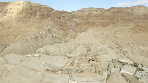 Qumran Visitors Center overview - Israel aerial footage-
