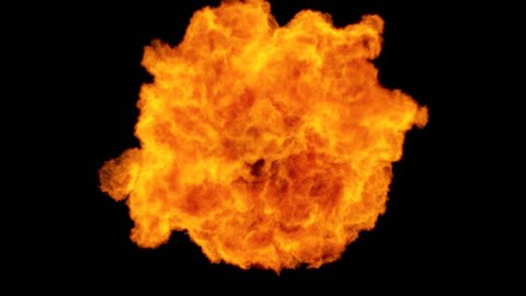 High Speed Fire ball explosion towards to camera, cross frame ahead transition, slow motion fire flamethrower isolated on black background with alpha channel, perfect for cinema, digital composition.