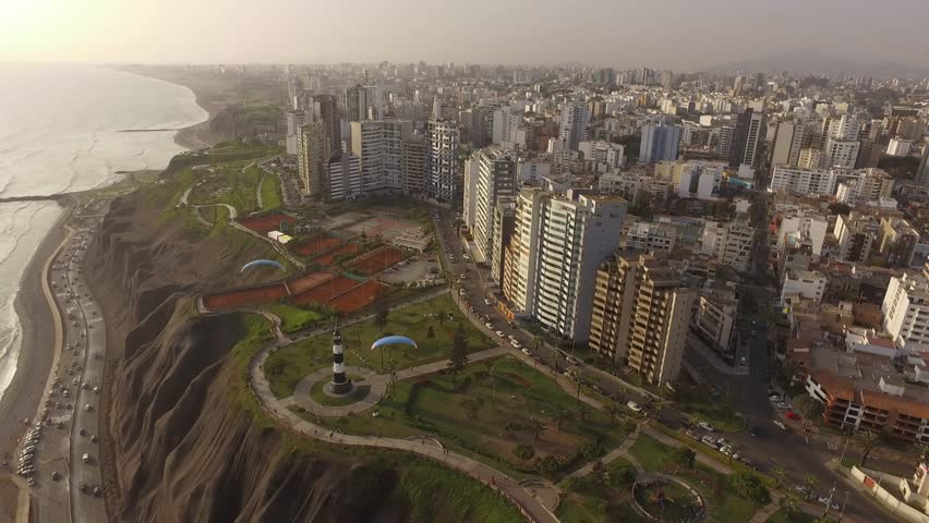 MIRAFLORES, PERU: Aerial view of Miraflores district, in Lima.