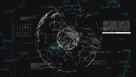 3d seamless animation of Global Business Network rotating in Space. Scientific Concept. Looped. HD 1080.