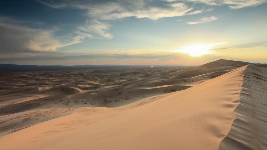 Sunset over the Gobi desert, dune Hongoryn, Mongolia. Full HD   Shutterstock HD Video #20509390