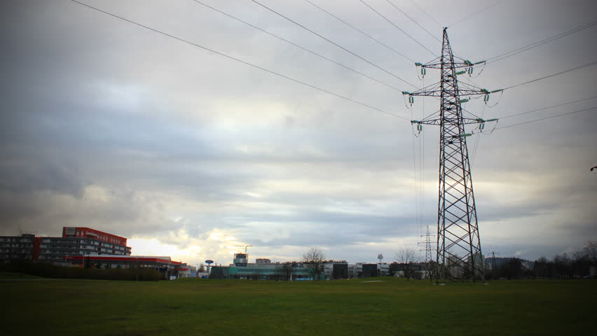 Electrical power lines with cloudscape - timelapse. EOS 550D 1080p. Tripod.