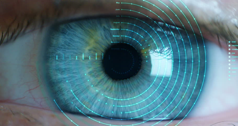 Macro eye 6k resolution futuristic graphical implementation. human being futuristic vision, vision and control and protection of persons, control and security in the accesses. surveillance system