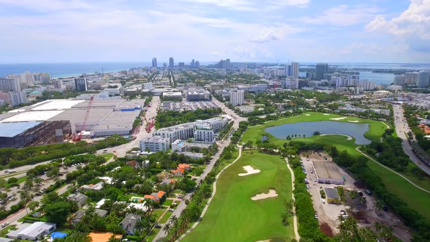 MIAMI BEACH - OCTOBER 10: Aerial video of the Miami Beach Golf Club located at