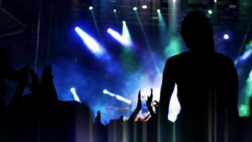 4K Party People Silhouette, Festival Crowd Woman on Shoulders Live Entertainment