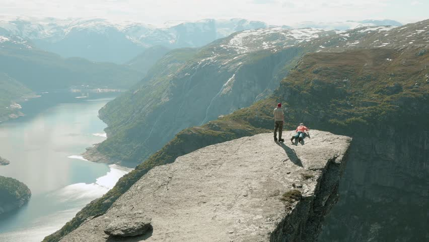 On the Trolltunga in the Norway.