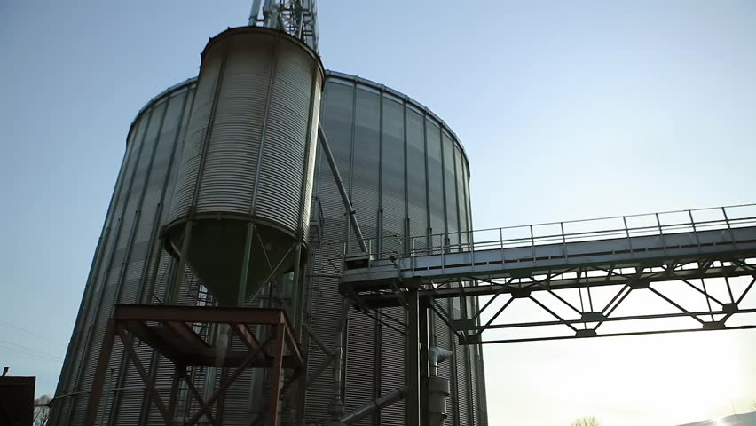 Tanks For The Storage Of Grain Granary With Lots Flare Hd Stock Footage Clip