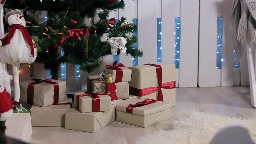 The Boy Ran To The Tree, Is A Box With A Gift, Shakes It