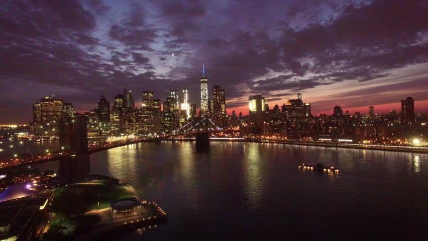 Flying away from Manhattan over bridge | Shutterstock HD Video #20638201