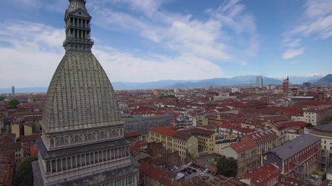 view of Turin rising over Mole Antonelliana