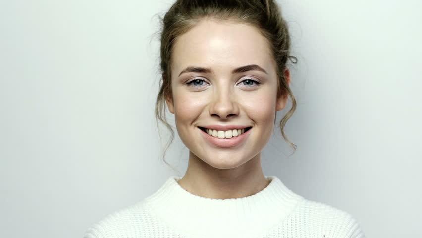 Closeup Beauty portrait of woman face with blue eyes slow motion | Shutterstock HD Video #20647573