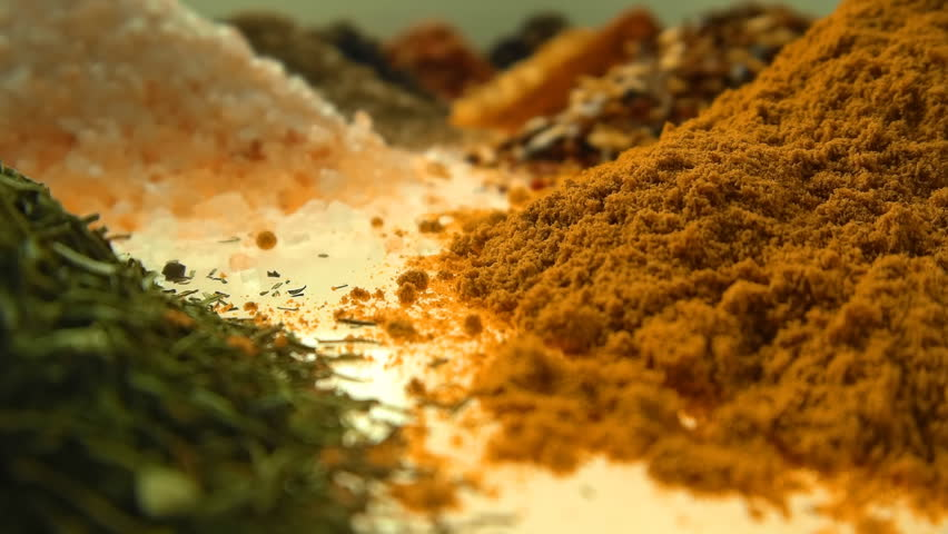 Fragrant, aromatic, natural and good for health, spices lie on the table, separately from each other.The camera moves through the spices. Closeup. Dolly shot. Shallow depth of field | Shutterstock HD Video #20662180