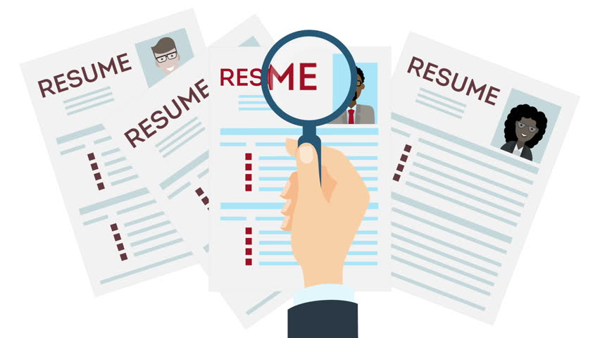woman job interview and recruitment business concept  holding resume and magnifying glass  girl